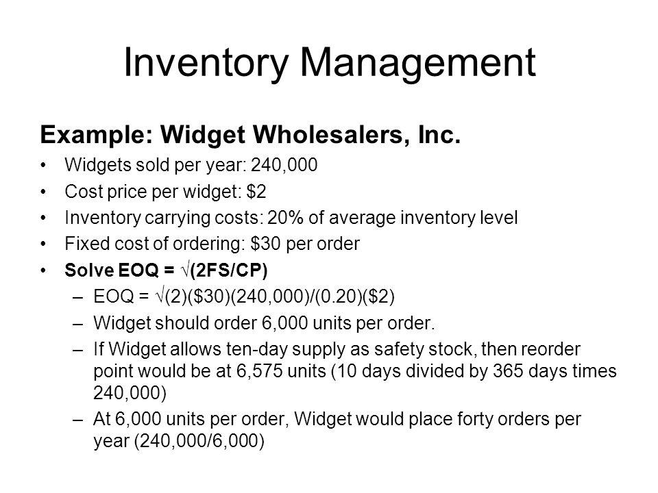 Inventory Management Example: Widget Wholesalers, Inc.