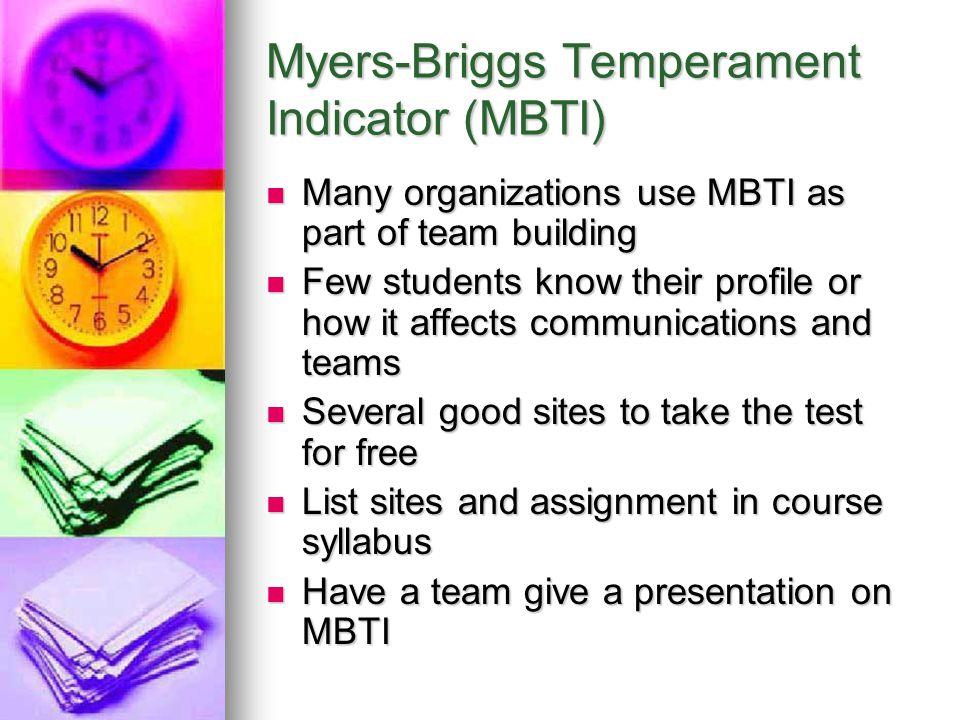 Myers-Briggs Temperament Indicator (MBTI)