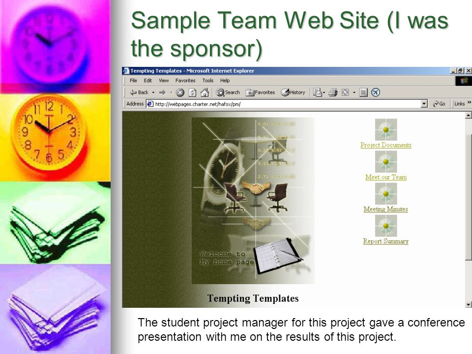 Sample Team Web Site (I was the sponsor)
