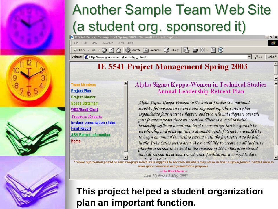 Another Sample Team Web Site (a student org. sponsored it)