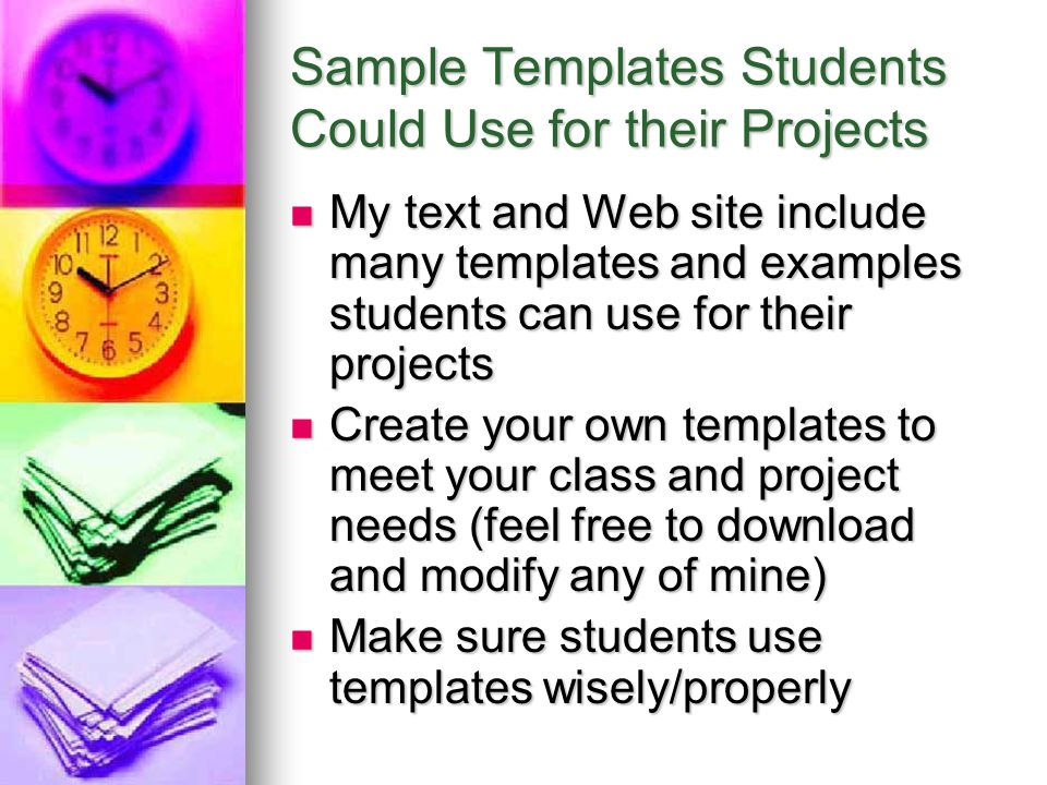 Sample Templates Students Could Use for their Projects