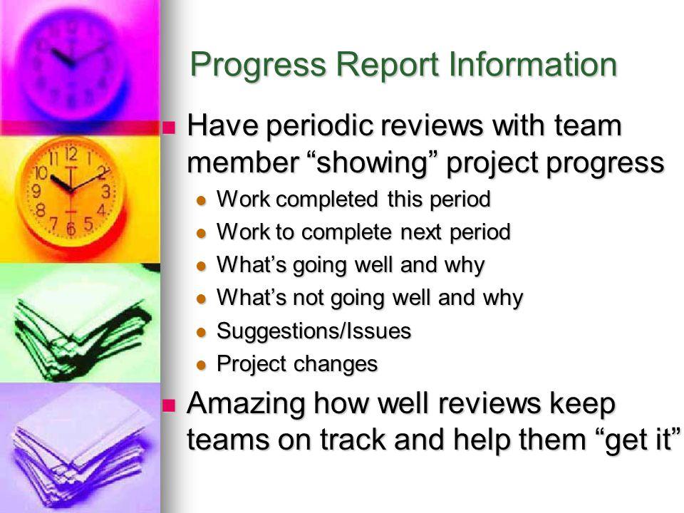 Progress Report Information