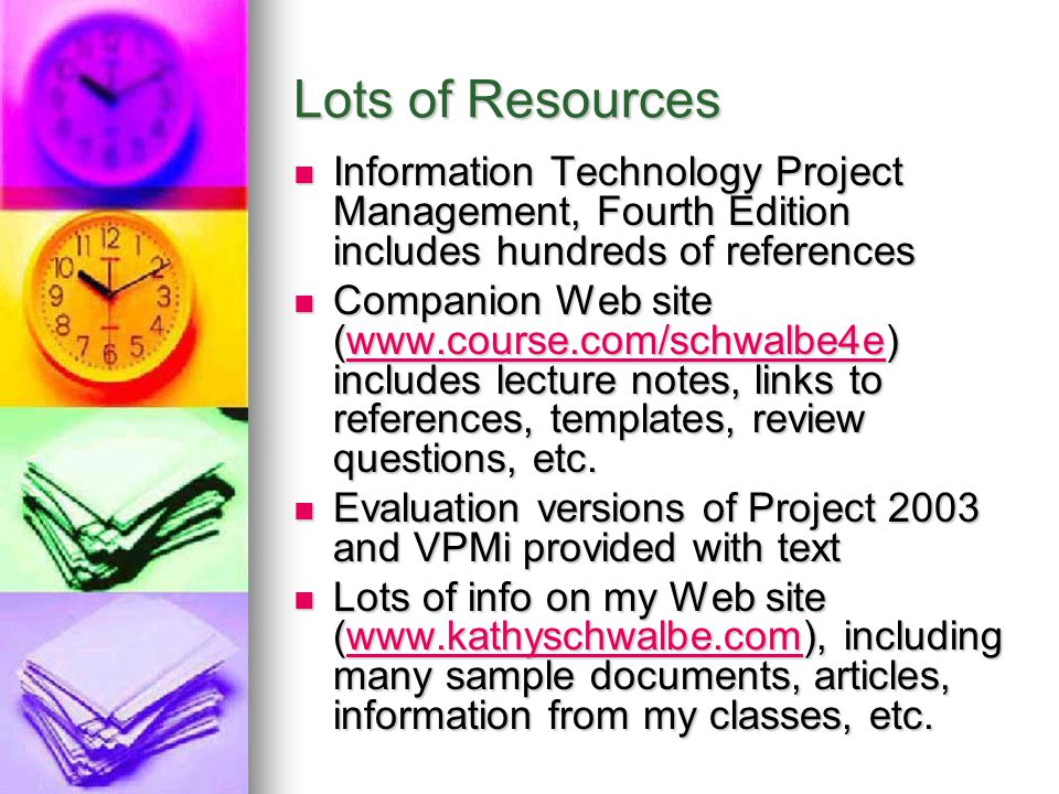 Lots of Resources Information Technology Project Management, Fourth Edition includes hundreds of references.