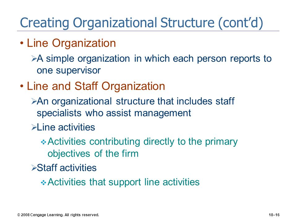 Creating Organizational Structure (cont'd)