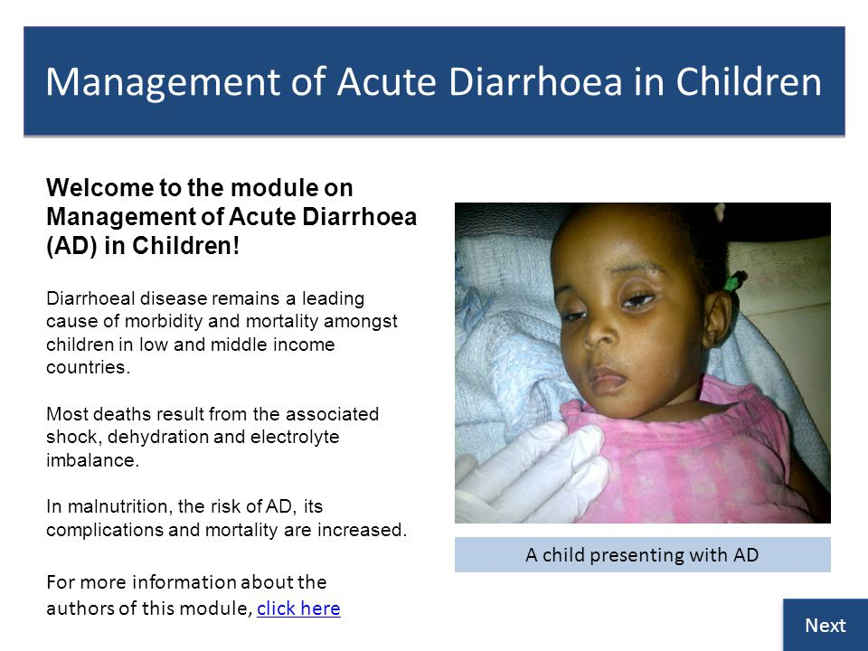 Management of Acute Diarrhoea in Children