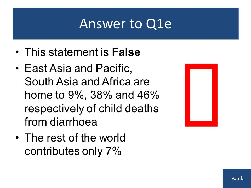 û Answer to Q1e This statement is False