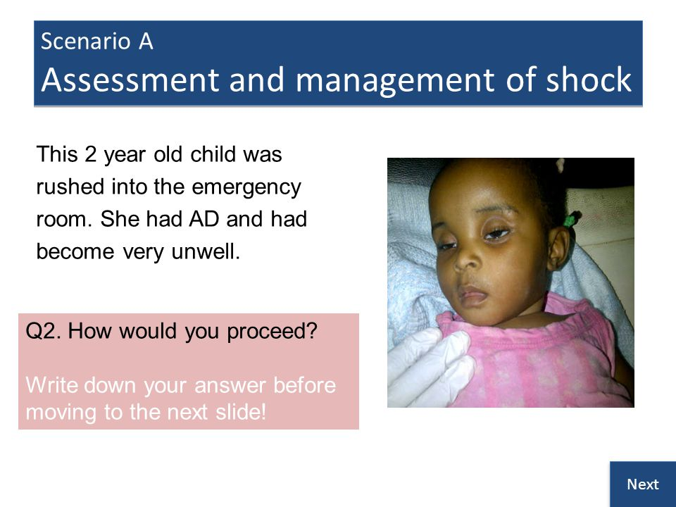 Scenario A Assessment and management of shock