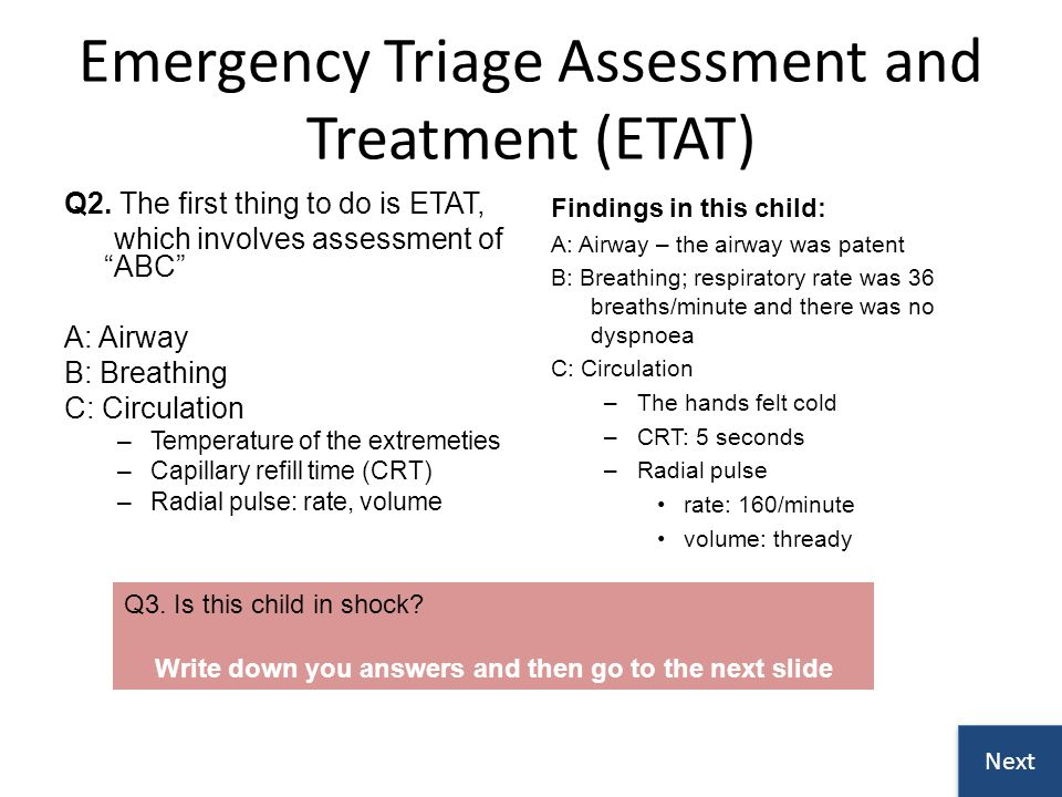 Emergency Triage Assessment and Treatment (ETAT)