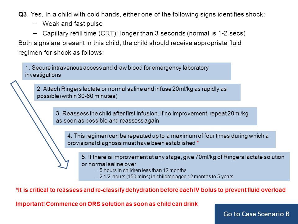 Q3. Yes. In a child with cold hands, either one of the following signs identifies shock: