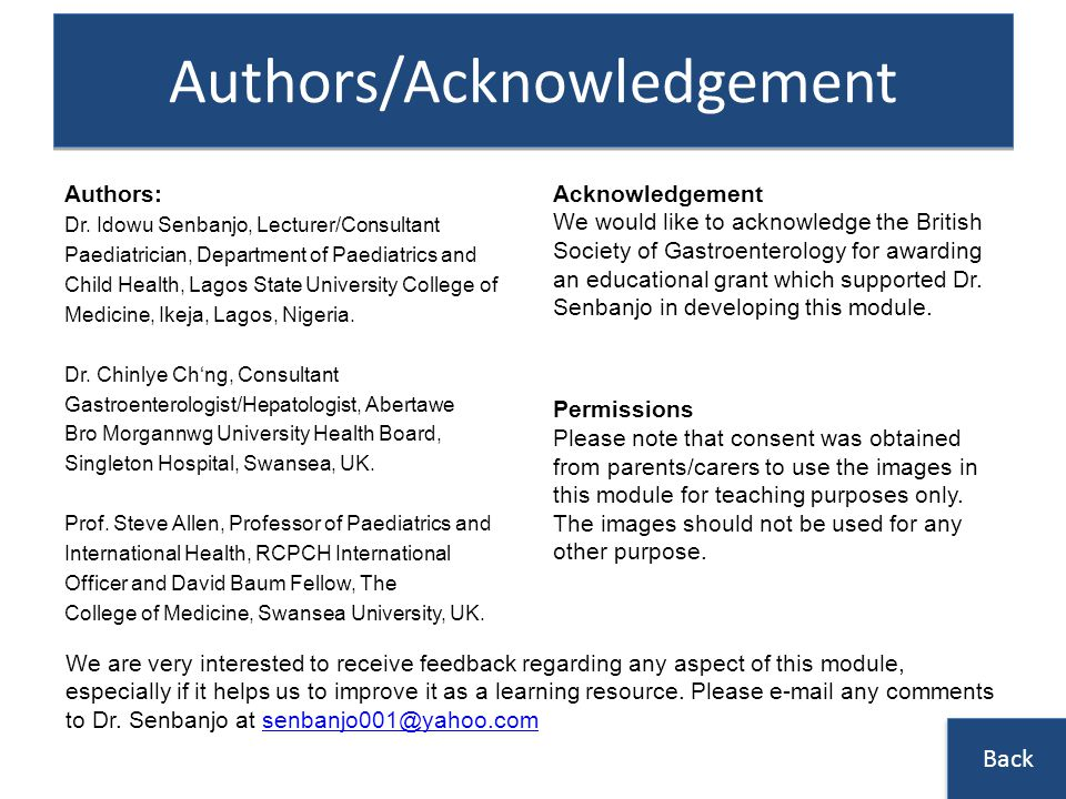Authors/Acknowledgement