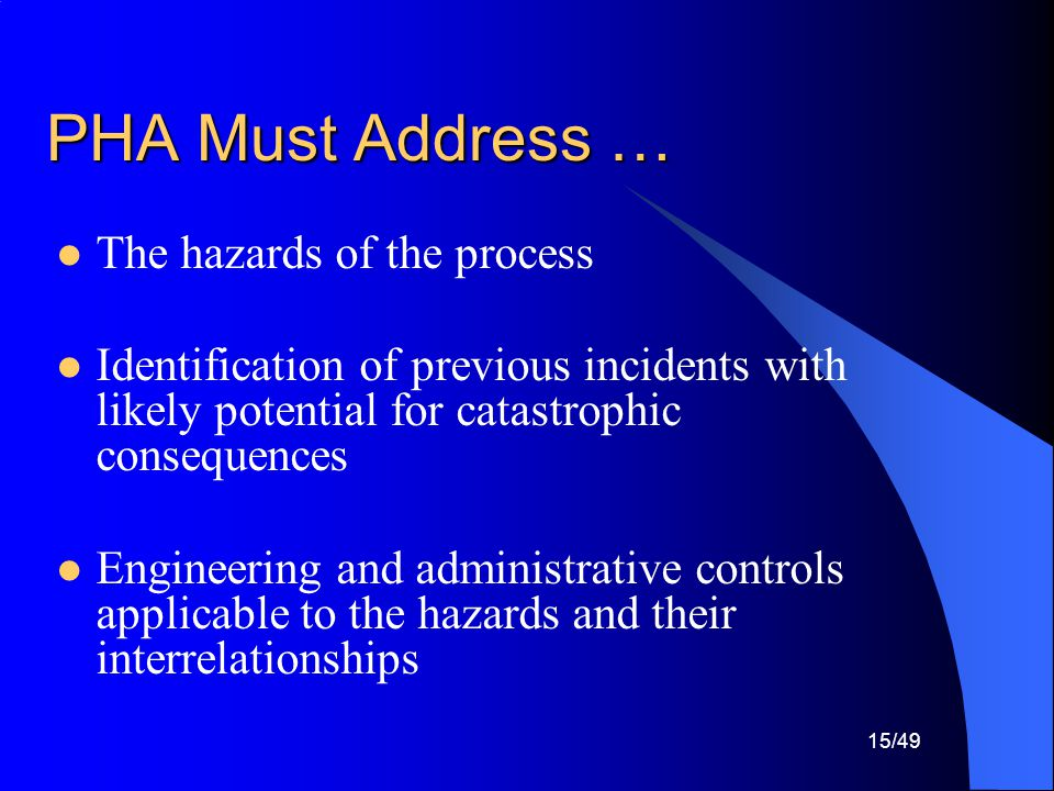 PHA Must Address … The hazards of the process