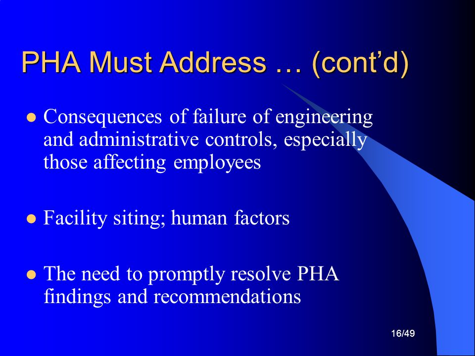PHA Must Address … (cont'd)