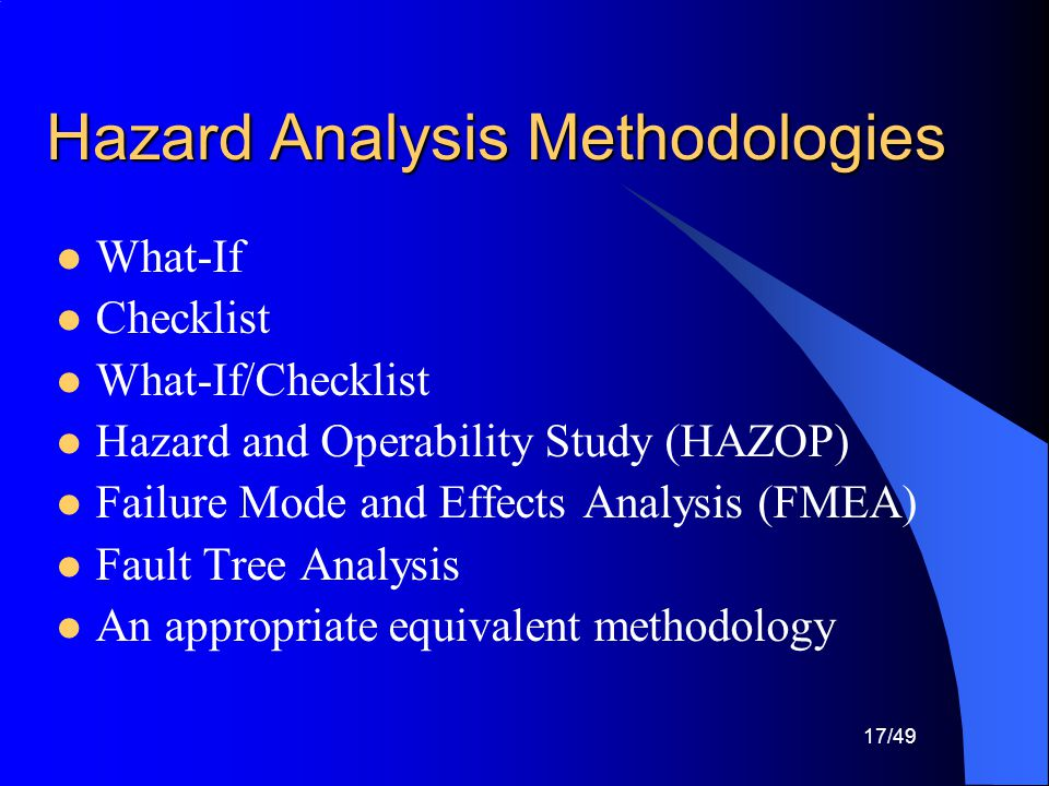 Hazard Analysis Methodologies