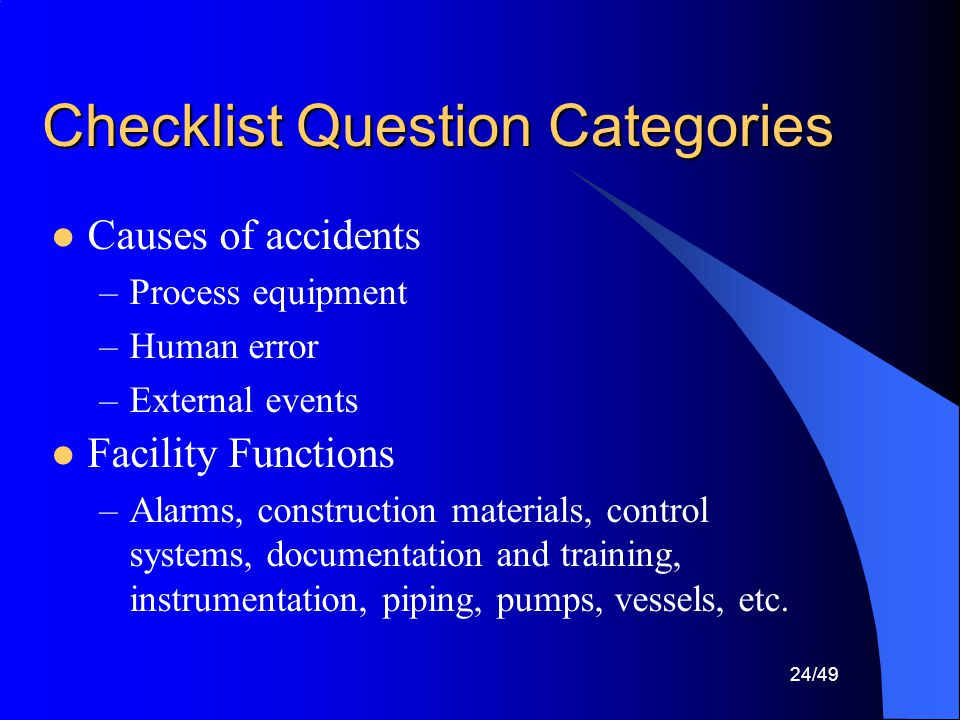 Checklist Question Categories