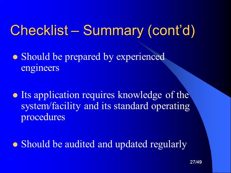 Checklist – Summary (cont'd)