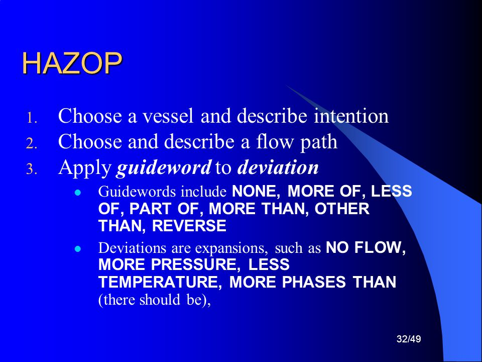 HAZOP Choose a vessel and describe intention
