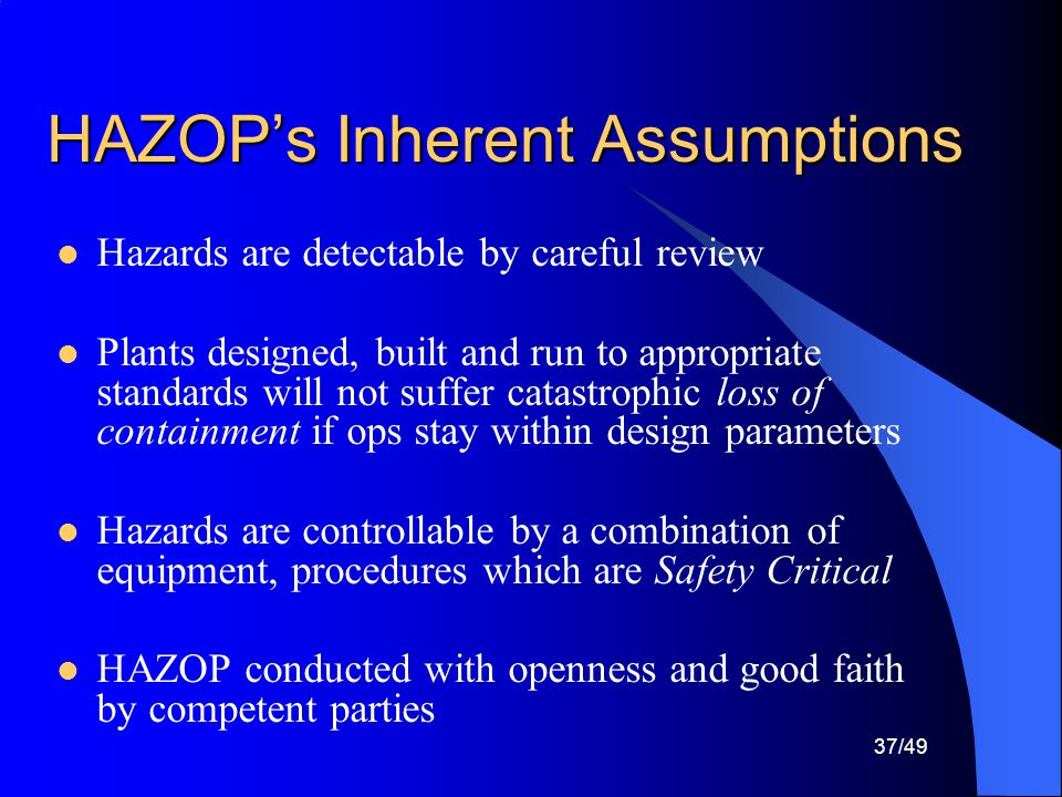 HAZOP's Inherent Assumptions