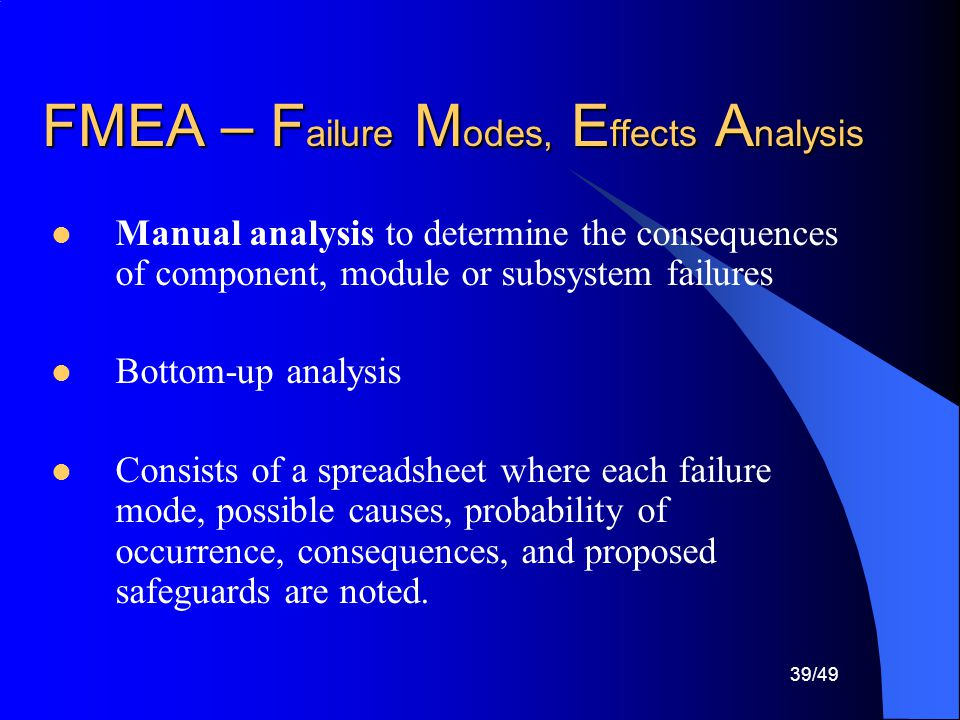 FMEA – Failure Modes, Effects Analysis