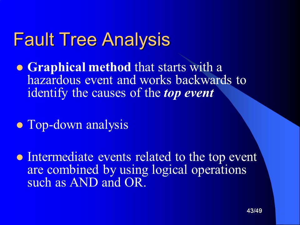 Fault Tree Analysis Graphical method that starts with a hazardous event and works backwards to identify the causes of the top event.