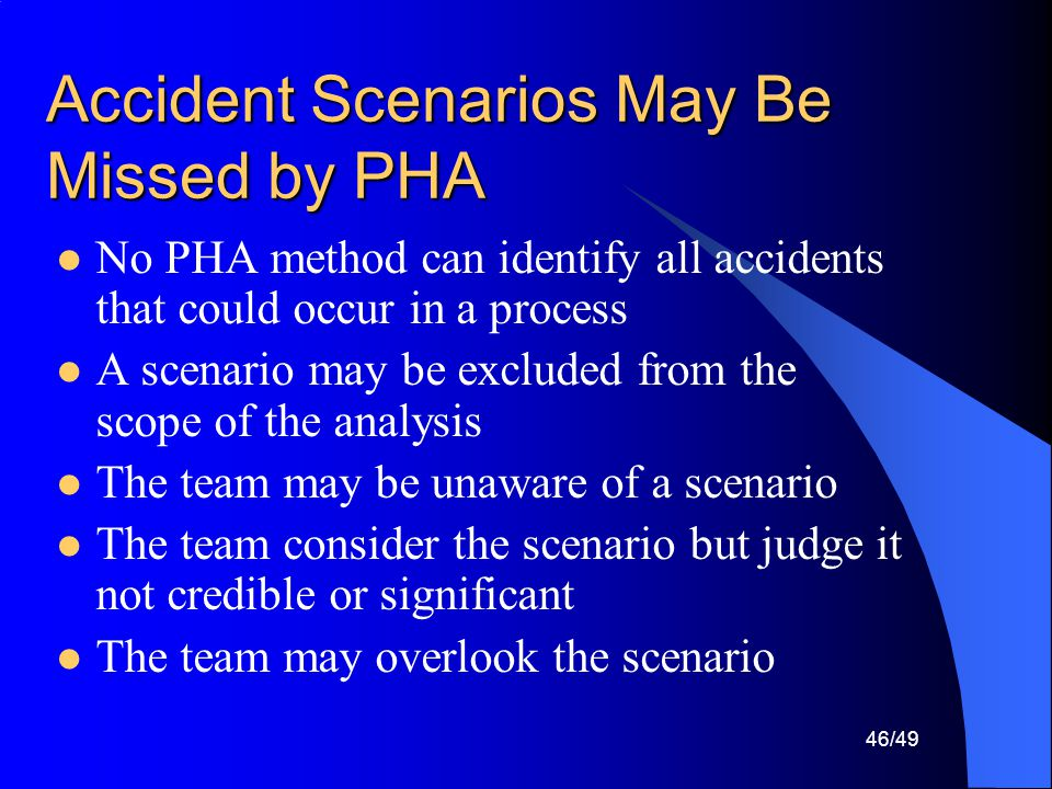 Accident Scenarios May Be Missed by PHA