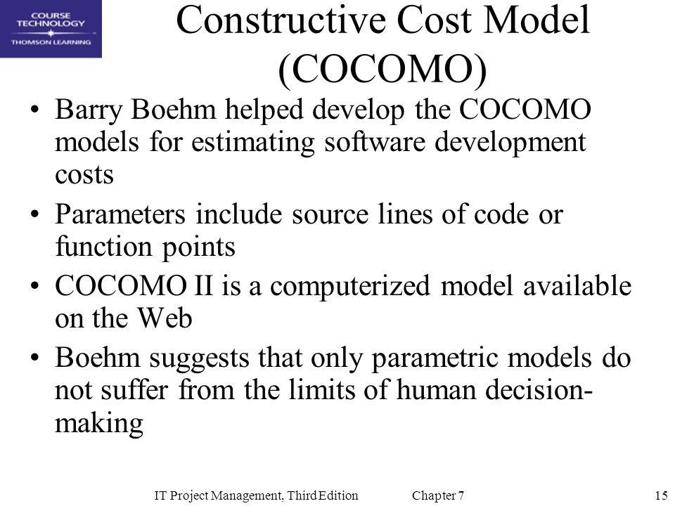 an understanding of the constructive cost model cocomo The cocomo method represents a data-driven, model-based, parametric  estimation method that implements a fixed-model approach in other.