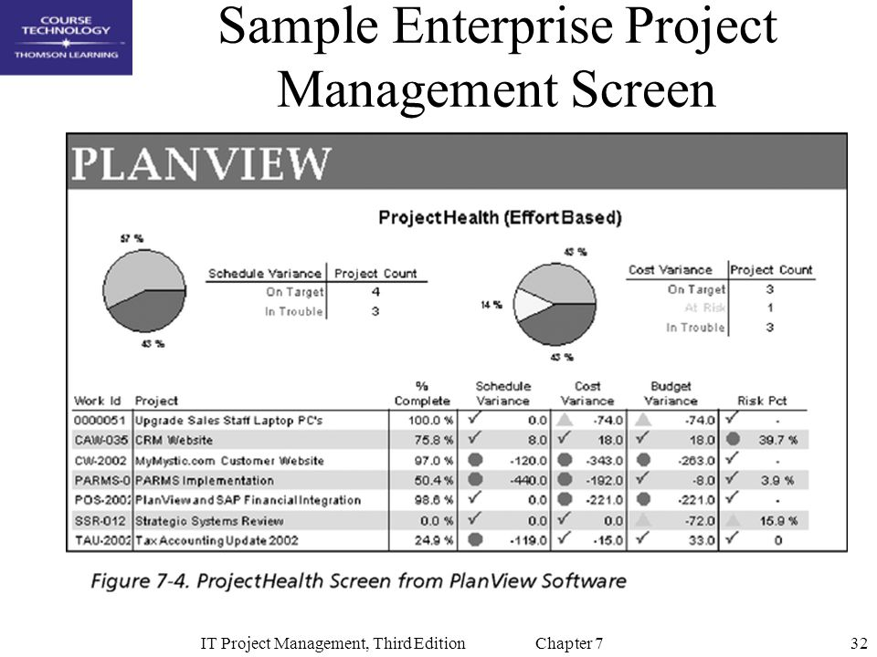 Sample Enterprise Project Management Screen