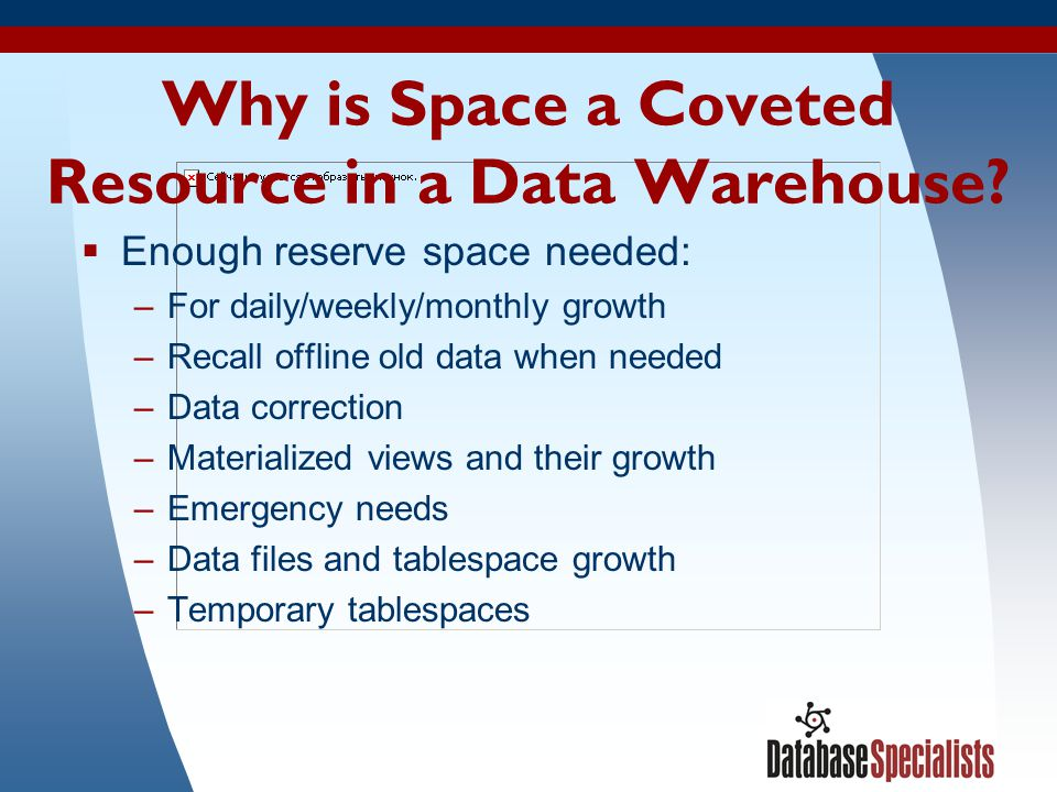 Why is Space a Coveted Resource in a Data Warehouse