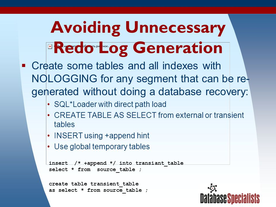 Avoiding Unnecessary Redo Log Generation