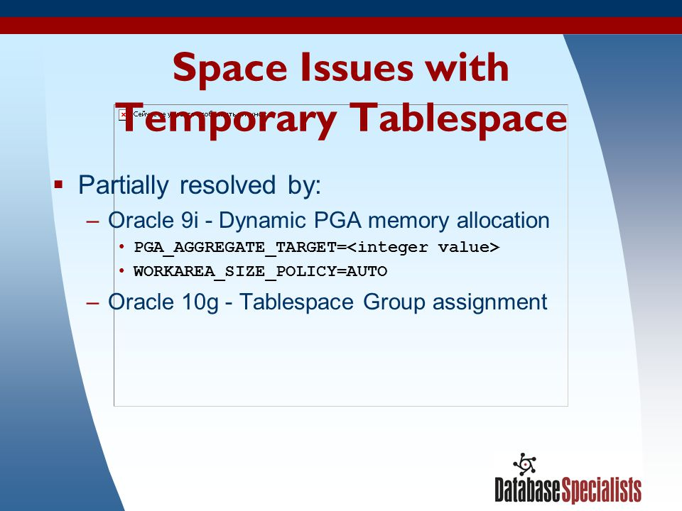 Space Issues with Temporary Tablespace