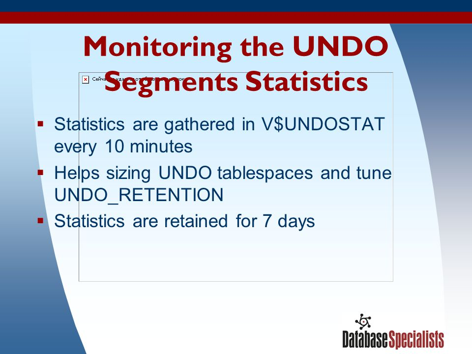 Monitoring the UNDO Segments Statistics