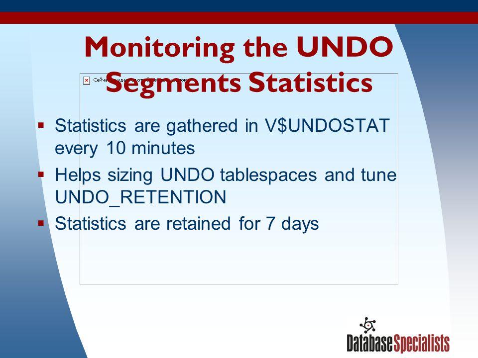 Monitoring the UNDO Segments Statistics