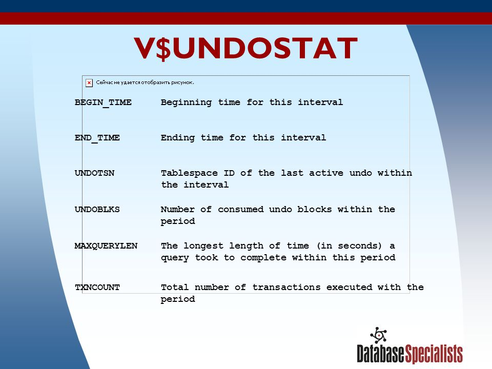 V$UNDOSTAT BEGIN_TIME Beginning time for this interval END_TIME