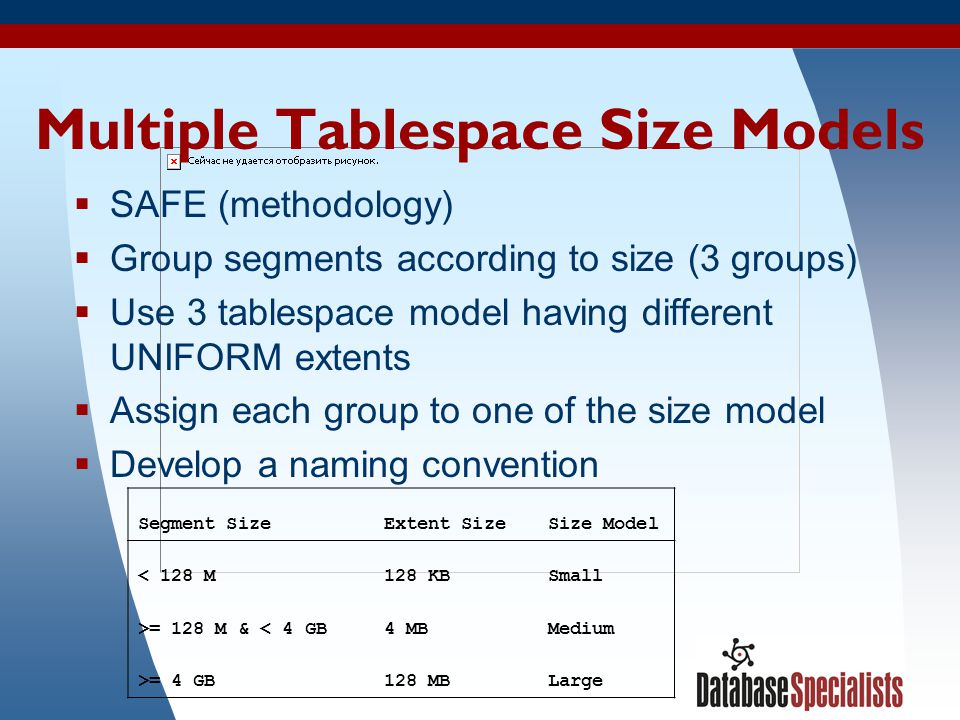 Multiple Tablespace Size Models