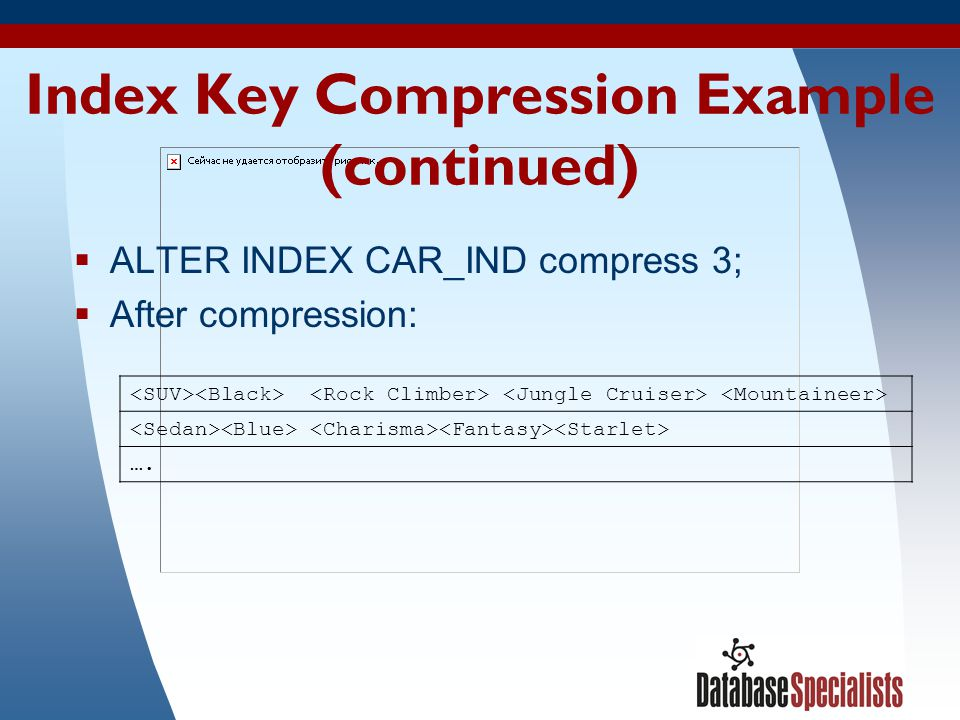 Index Key Compression Example (continued)