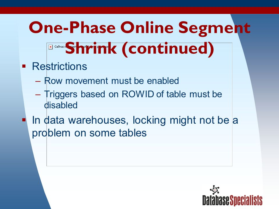 One-Phase Online Segment Shrink (continued)