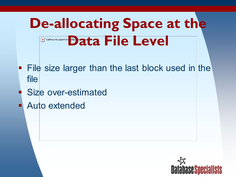 De-allocating Space at the Data File Level