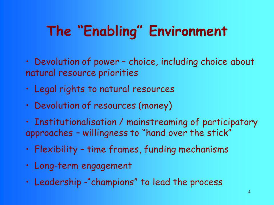 The Enabling Environment