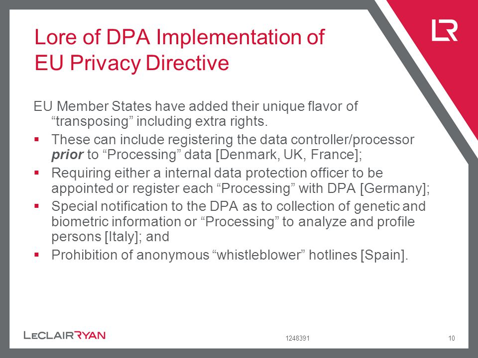 Lore of DPA Implementation of EU Privacy Directive