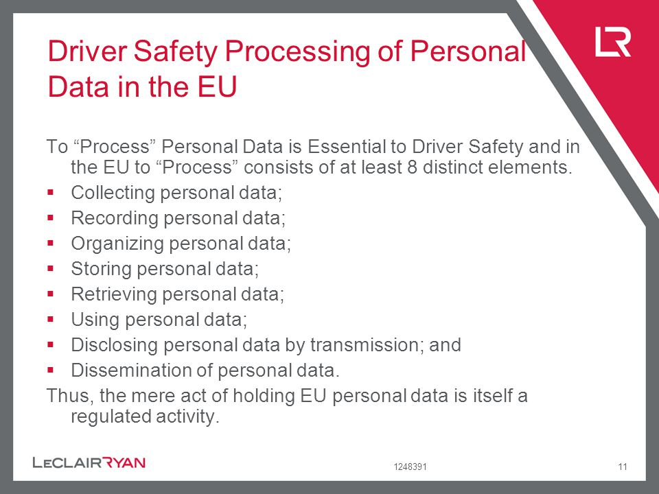 Driver Safety Processing of Personal Data in the EU