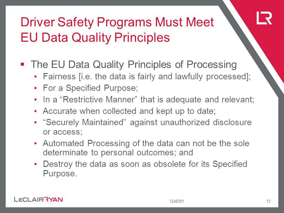 Driver Safety Programs Must Meet EU Data Quality Principles
