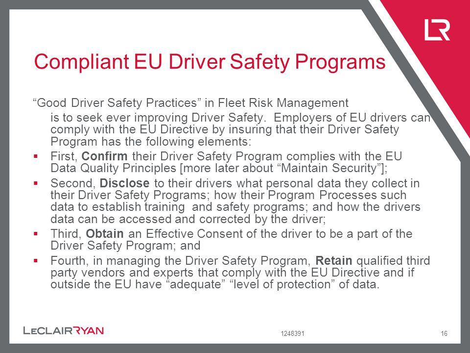Compliant EU Driver Safety Programs