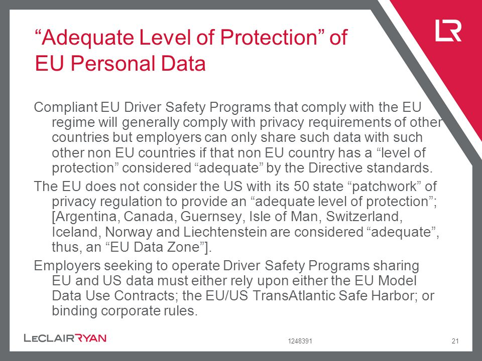 Adequate Level of Protection of EU Personal Data