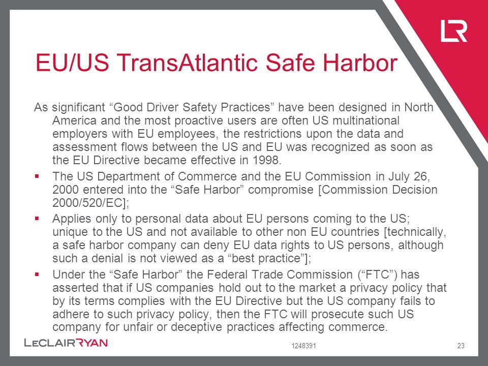 EU/US TransAtlantic Safe Harbor
