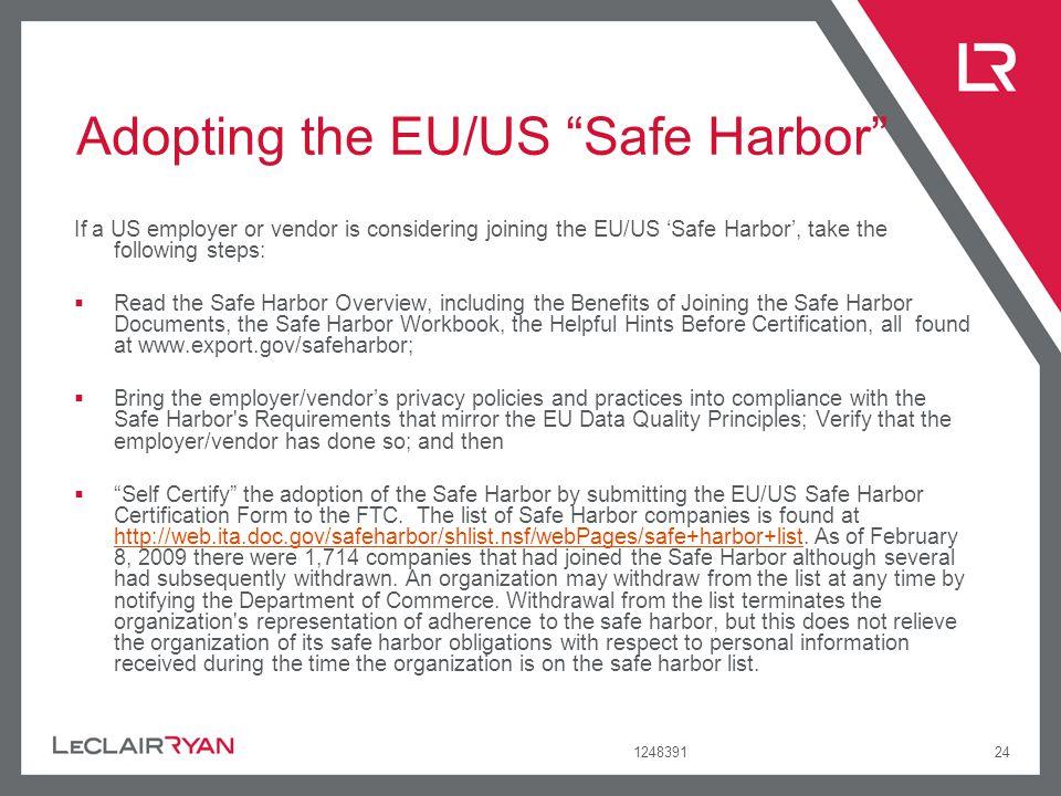 Adopting the EU/US Safe Harbor