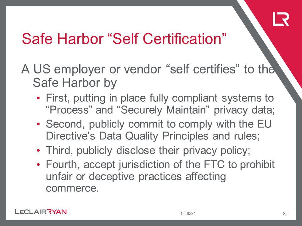 Safe Harbor Self Certification