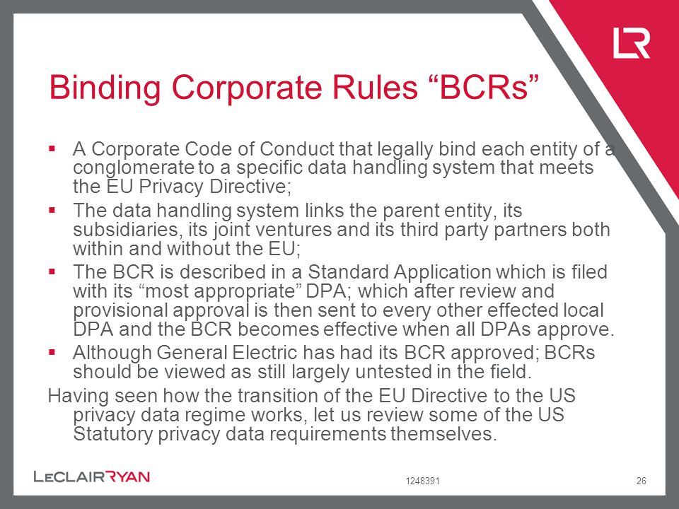 Binding Corporate Rules BCRs