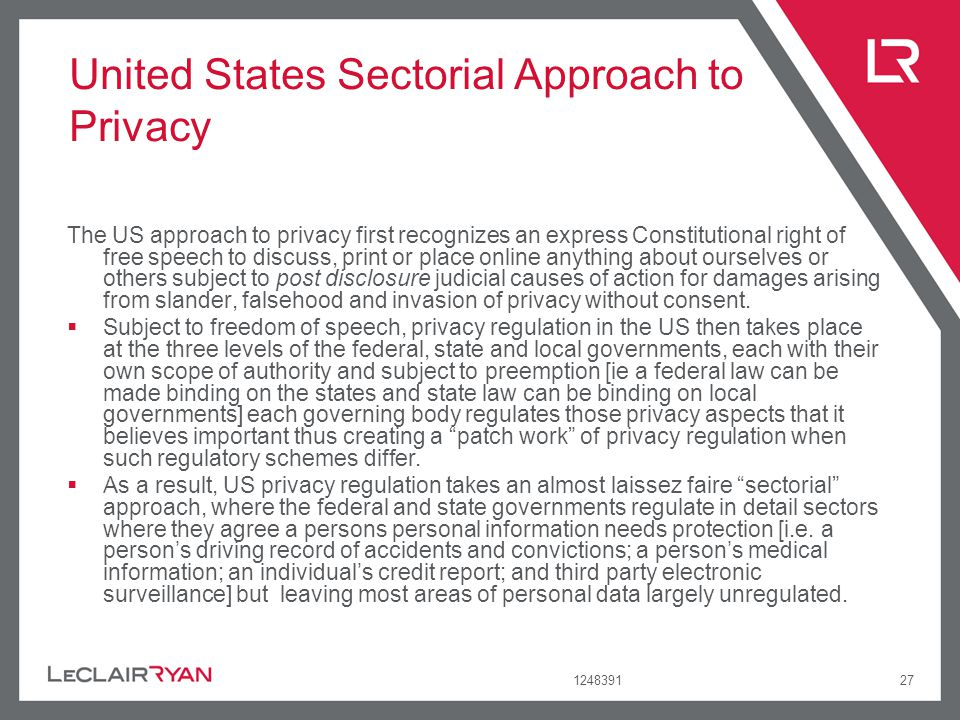 United States Sectorial Approach to Privacy