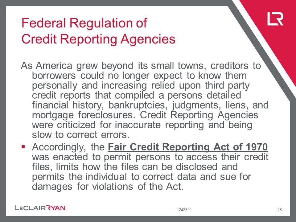 Federal Regulation of Credit Reporting Agencies