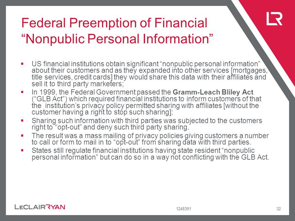 Federal Preemption of Financial Nonpublic Personal Information