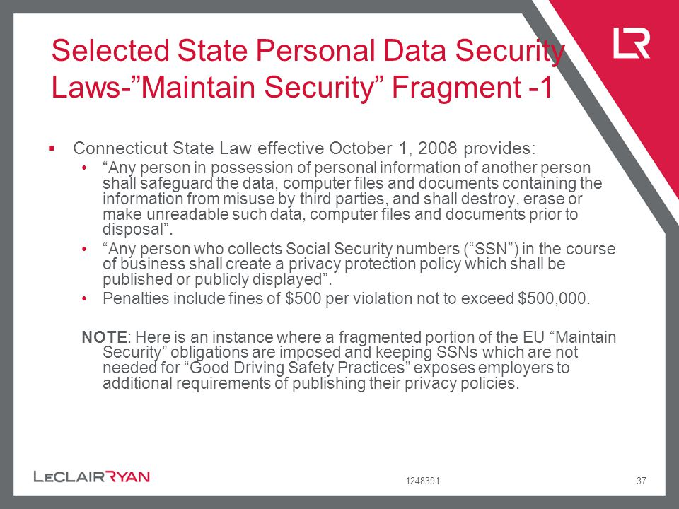 Selected State Personal Data Security Laws- Maintain Security Fragment -1